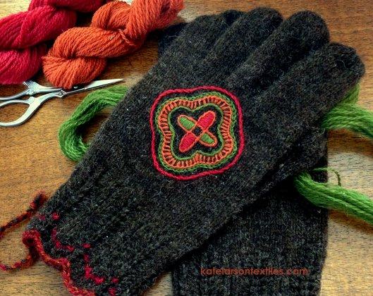 Kate Larson's handspun, Estonian-inspired gloves.
