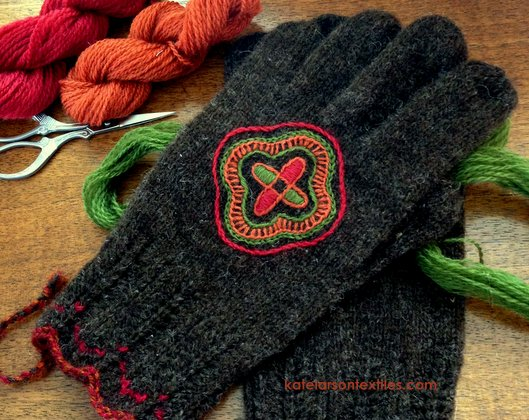 Kate Larson's handspun, Estonian-inspired gloves.