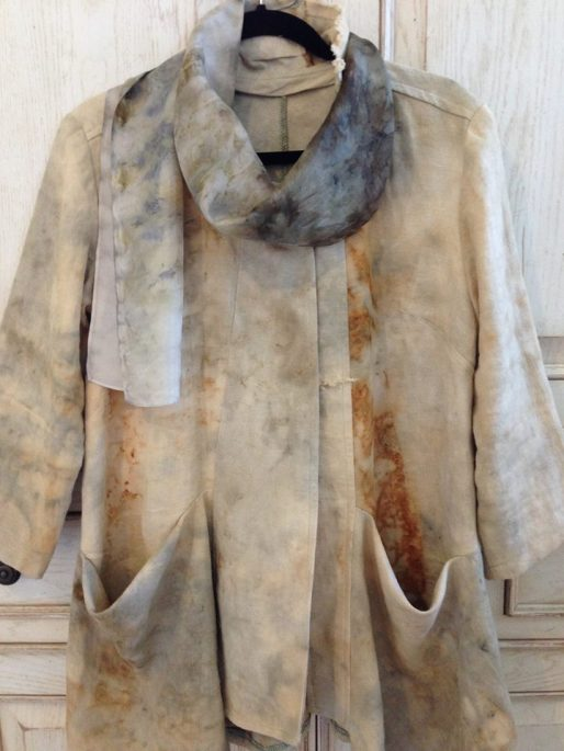 Linen jacket dyed with steel, coffee, and tea. Photo: Mary Sue Fenner